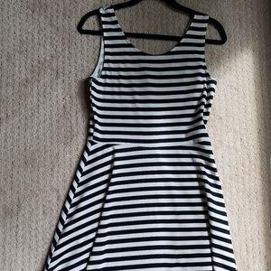 H&M Skater Dress, Navy/White